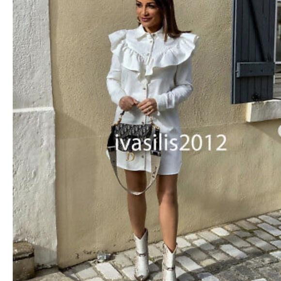 Zara DENIM MINI SHIRT DRESS Button Front Ruffle BN